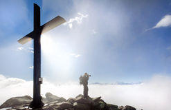 Tourist on top of Bettmerhorn, Switzerland Stock Images
