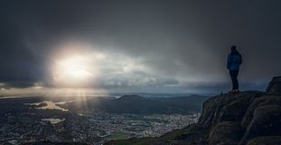 Tourist on top of Mount Ulriken Royalty Free Stock Image