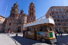 Tourist tour bus in the historic center of San Luis Potosi, Mexico Stock Images