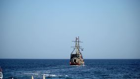 Tourist tour on a pirate ship stock video