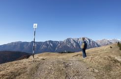 Tourist. Walking on the trail in the mountains Royalty Free Stock Images