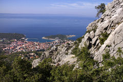 Tourist town Makarska on adriatic coast in Croatia Stock Photos
