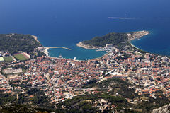 Tourist town Makarska on adriatic coast in Croatia Stock Photo