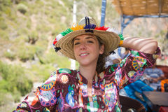 Tourist with traditional Rif hat Stock Photo
