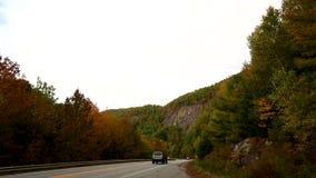 Tourist traffic near Camden, Maine stock video footage