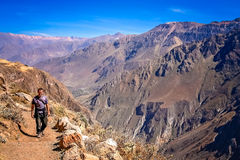 Tourist on a trail in a Canyon Colca stock image