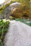 Tourist trail in Devitakskoy cave in Bulgaria Stock Images
