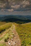 Tourist trail in the mountains. Poland.Bieszczady mountins in summer.Tourist trail in the mountains Royalty Free Stock Photography