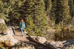 Tourist on trail near Bear Lake in Colorado Stock Images