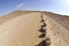 Tourist trail in Negev desert. Royalty Free Stock Photos