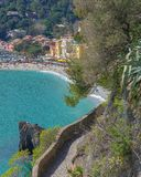 Tourist trail overlooking the sea in Monterosso, 5 terre Italy stock photos