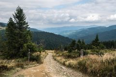 Tourist trail in the Polish mountains royalty free stock photography