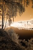 Tourist trail by the river of Gauja in Valmiera Latvia. autumn c. Olors in sunny day. infrared image Royalty Free Stock Photos