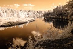 Tourist trail by the river of Gauja in Valmiera Latvia. autumn c. Olors in sunny day. infrared image Royalty Free Stock Image