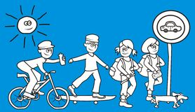 Tourist trail,group of people, funny illustration. The trip - a cyclist, boy on a skateboard and two tourists and a dog. Vector illustration. Funny picture royalty free illustration