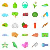 Tourist trails icons set, cartoon style Royalty Free Stock Photo