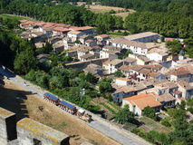 Tourist train. Sight of Carcassonne's tourist train from the top of the Castle of the Cite Royalty Free Stock Photography