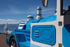 . tourist train blue Royalty Free Stock Photography