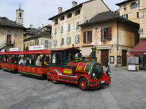 The tourist train-car in Italy. Whith wheels and sounds. Royalty Free Stock Photos