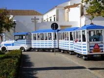 Tourist train Faro Portugal. A tourist train turning a corner in  Faro Portugal Royalty Free Stock Photography