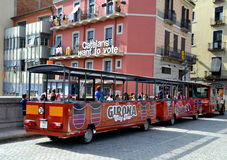 Tourist train service in Girona, Spain Stock Photo