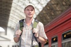 Tourist on a train station Royalty Free Stock Images