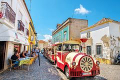 Tourist train at Tavira. Portugal royalty free stock photos