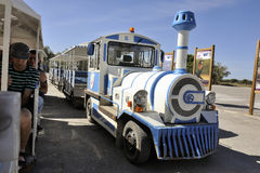 Tourist train to visit the salt business of Aigues-Mortes Royalty Free Stock Image