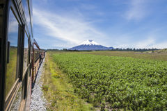 Tourist train of the volcanos in Ecuador. A view from the window of the famous Train of the Volcanoes route that passes near many active volcanoes in Ecuador. In Royalty Free Stock Images