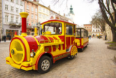 Tourist tram in Lviv city, Ukraine stock photos