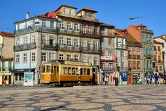 Tourist tram in Porto royalty free stock image