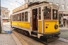 Tourist Tram in Porto`s Shopping District royalty free stock photos
