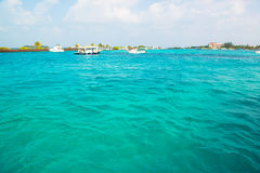 Tourist transportation motorboats in Maldives Royalty Free Stock Photography