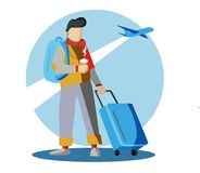 A tourist with travel bag amidst a flying airplane. Vector illustration. Royalty Free Stock Photos