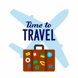 Tourist travel banner. Time to travel, airplane and travel bag with stickers, journey banner, poster, flat style vector illustration on white background Stock Photos