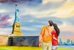 The statue of Liberty, Watercolor painting stock illustration