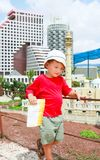 Tourist on travel destination background. Young tourist with map on travel destination background Stock Photography