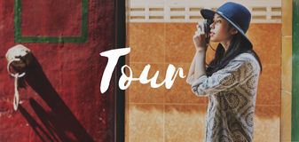 Tourist Travel Explore Life Graphic Concept Royalty Free Stock Images