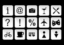 Tourist travel icon set. Illustration of black and white tourist travel icon set Royalty Free Stock Photography