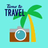 Tourist travel illustration. Time to travel, camera and palm, tropical countries tourist banner, poster, flat style vector illustration on blue background Stock Photography