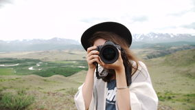Tourist travel photographer photographing. stock video