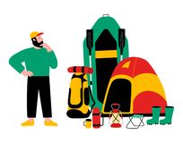 Tourist, travel preparation. Equipment for a hike. A puzzled man. Vector flat cartoon illustration. Tourist, travel preparation, packing. Equipment for a hike royalty free illustration