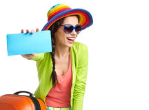 Tourist with travel suitcase and boarding pas stock photography