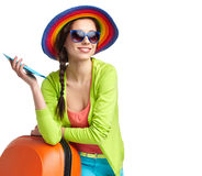 Tourist with travel suitcase and boarding pas Stock Images