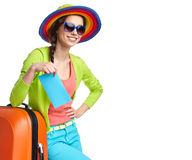 Tourist with travel suitcase and boarding pas Royalty Free Stock Image