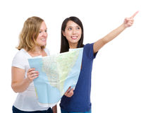 Tourist travel women friends with map Royalty Free Stock Photo