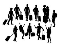 Tourist Activity People Silhouettes, art vector design royalty free stock photo
