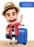 Tourist Traveler Man Vector Character Wearing Casual with Traveling Bags. For Travel and Hiking Isolated in White Background. Vector Characters Set Royalty Free Stock Images