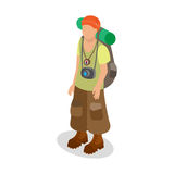 Tourist in a traveler`s outfit with a backpack Royalty Free Stock Photo