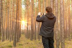 Tourist traveler taking pictures of sunrise in forest. royalty free stock images